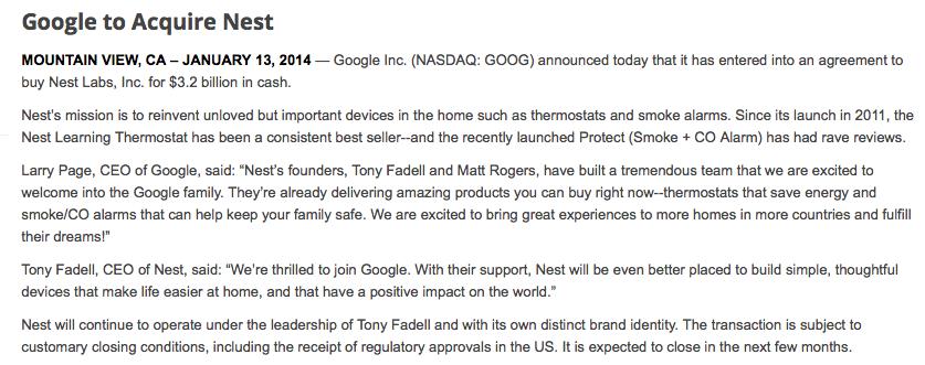 Google Press Release, Jan 13, 2014