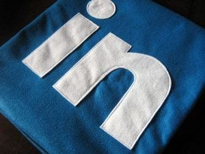 LinkedIn logo made out of cloth