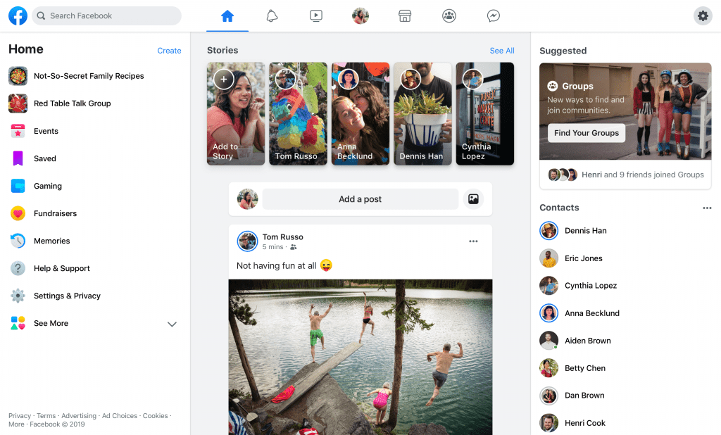 Facebook new look news feed