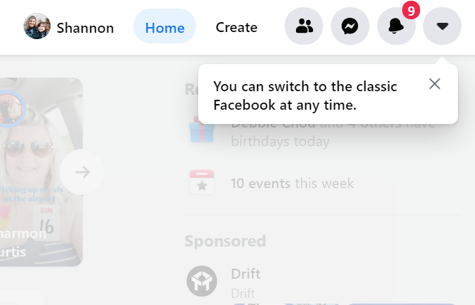 Facebook switch back to old version